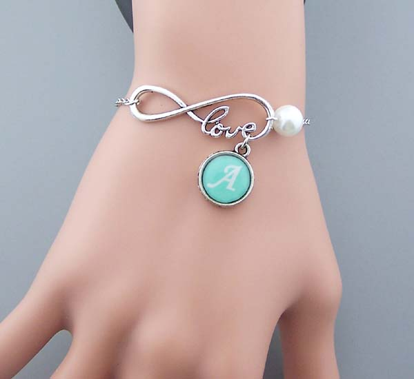 Customcelet Infinity With Love Wordcelet Custom Initials Jewelry Home Art Silver Chain Infinitycelet