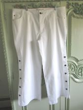 Peace Love World Pants Wp White Buttons Down Sides Cotton Spandex