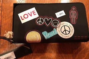 Image Is Loading Peace Love World Zip Around Wristlet Wallet Nib