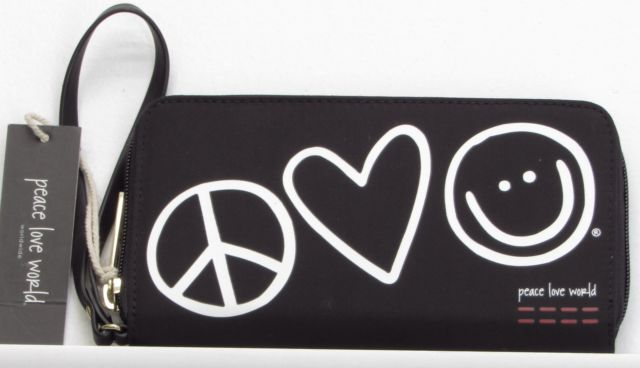 Peace Love World Zip Around Wristlet Wallet Black New