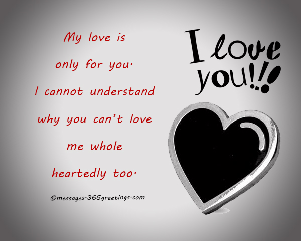 I Cannot Understand Why You Cant Love Me Whole Heartedly Too