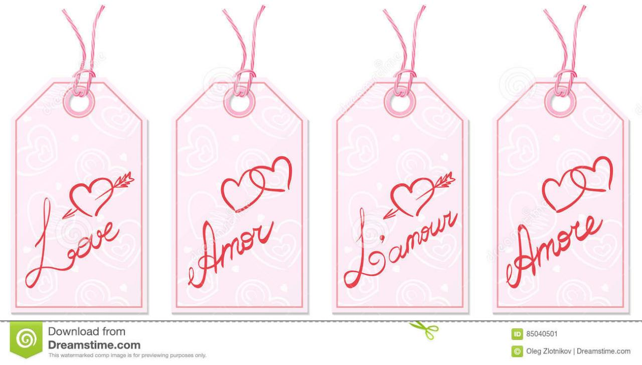 Set Of Four Gift Tags With Handwritten Word Love In English Spanish French And Italian On Pink Paper