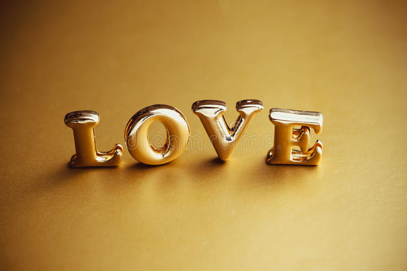 Download Single Word Love In Gold Lettering Stock Image Image Of Gold