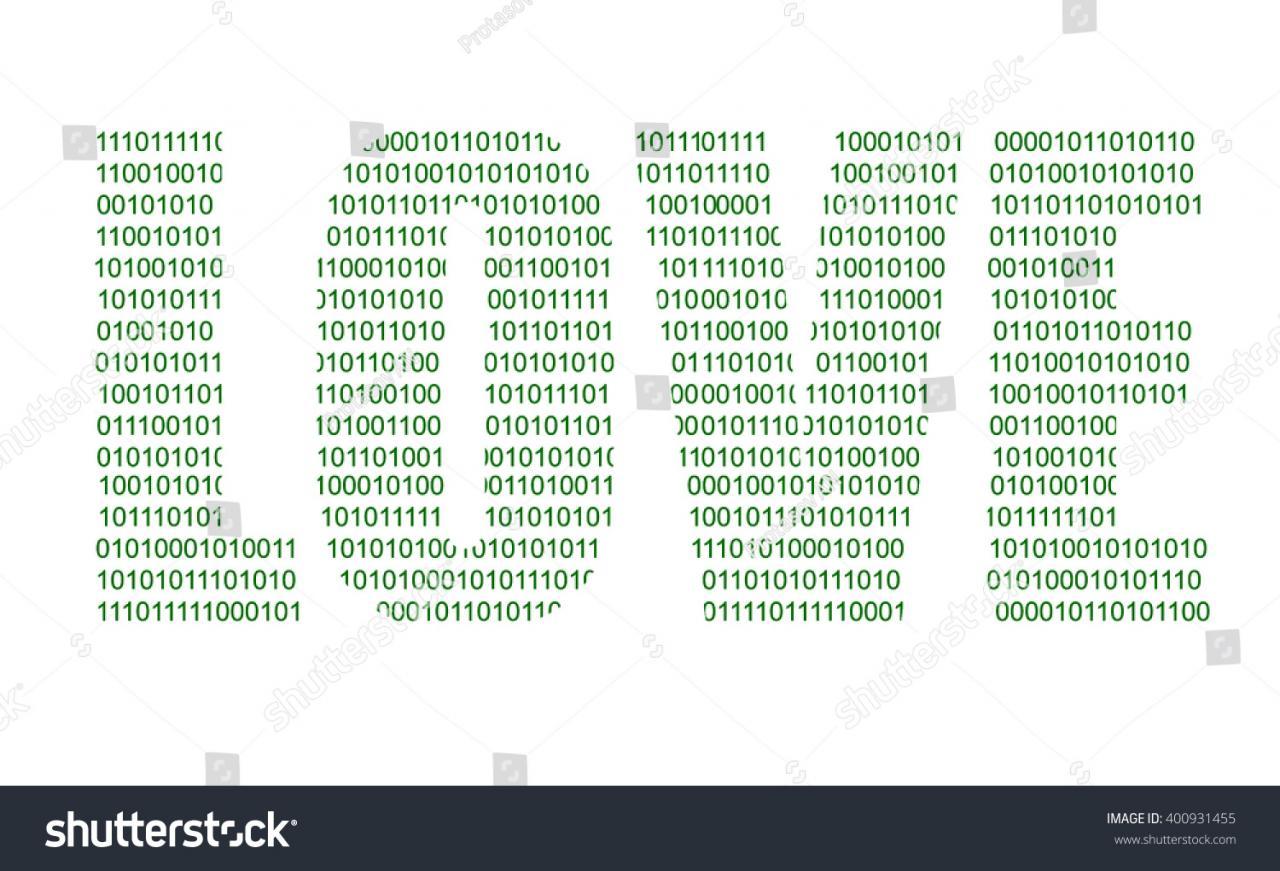 Binary Code Word Love White Background