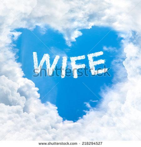 Love Wife Word On Blue Sky Inside Heart Cloud Form