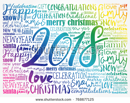 Happy New Year Christmas Background Word Cloud Holidays Lettering Collage