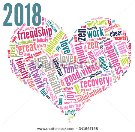 Happy New Year  Vector With A Heart Shape And Words Cloud And Tag
