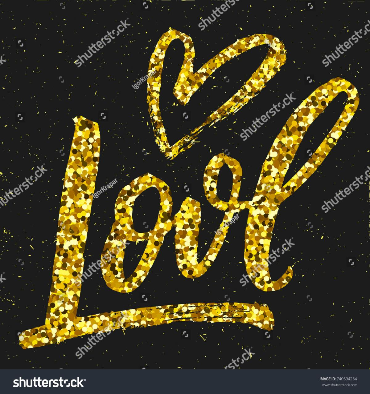 Love Gold Brushigraphy Word With Hand Drawn Heart On Black