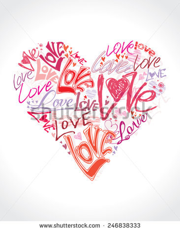 Love Heart Conceptual Symbol Heart Shape Made Up The Word Love Written In Different