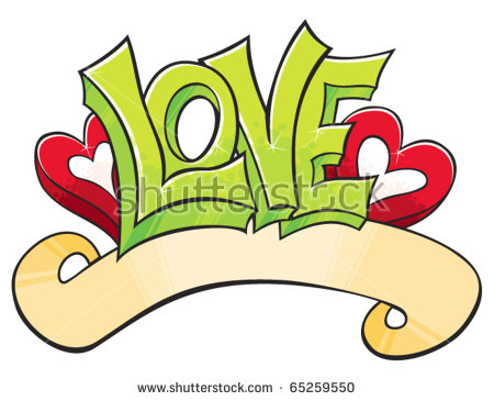 Love Word With Hearts Drawed In Graffiti Style
