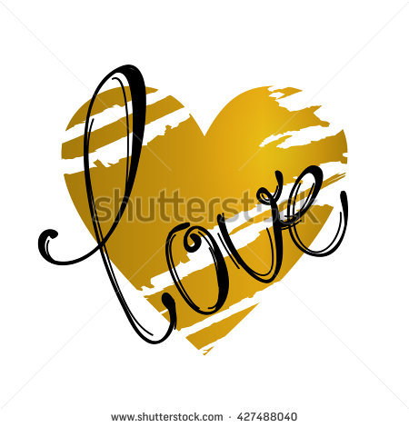 The Word Love With A Gold Heart