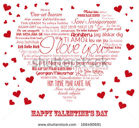 Vector Red Heart With Words I Love You In All Languages Of