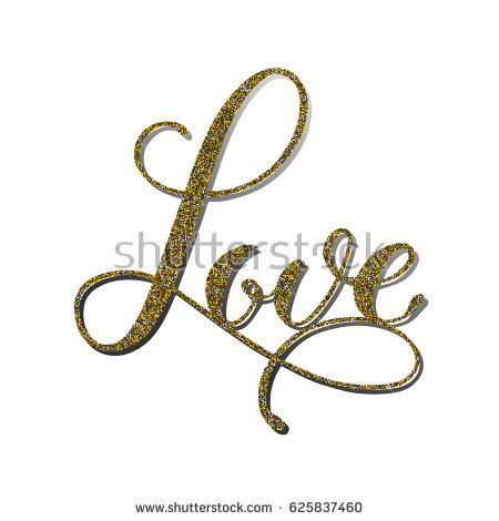 Vector Word Love With Gold Glitter Effect Handmade Unique Wedding Romantic Silhouette