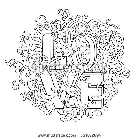 Word Love With Floral Ornament Lettering Coloring Page For And Children Valentines
