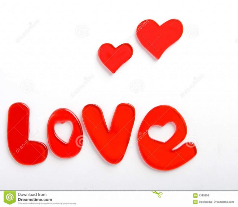 Valentine Hearts With Love Word