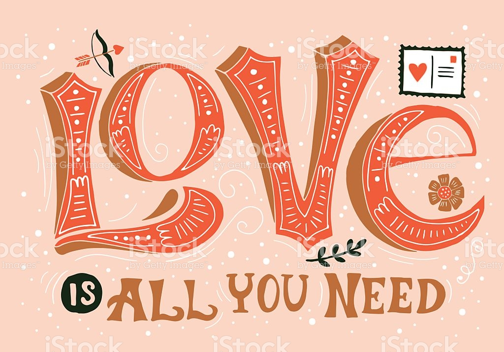Valentines Day Hand Drawing Greeting Card Design With Word Love Royalty Free Valentines Day Hand