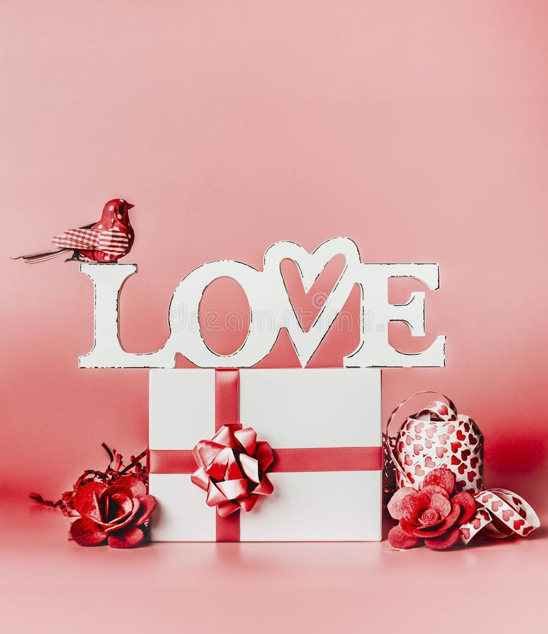 Download Valentines Day Romantic Still Life Composition With Word Love And Greeting Setting Gift Box