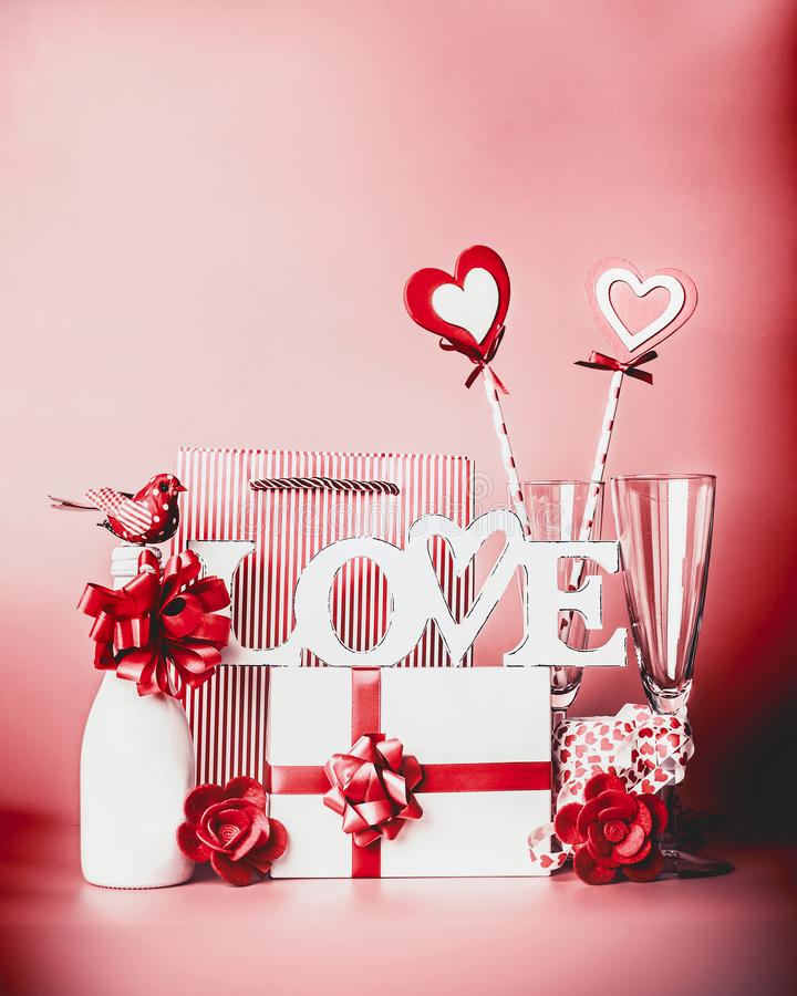 Download Valentines Day Romantic Still Life With Word Love And Greeting Setting Champagne Gift