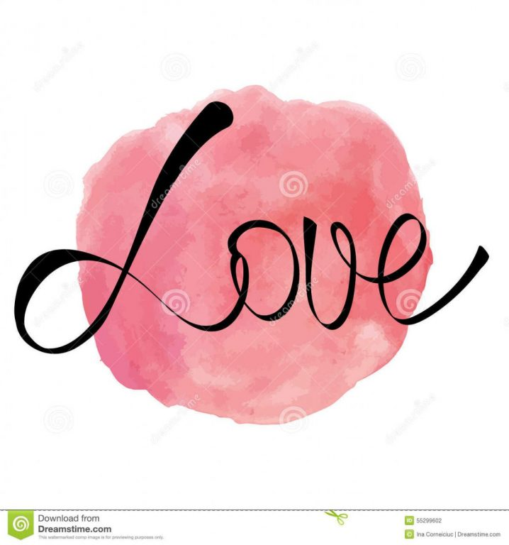 Watercolor Rose Pink Round Splash With Love Word Stock P Ography