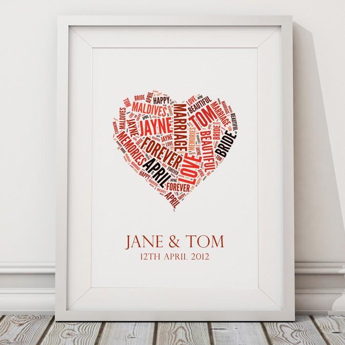 Personalised Wedding Word Print