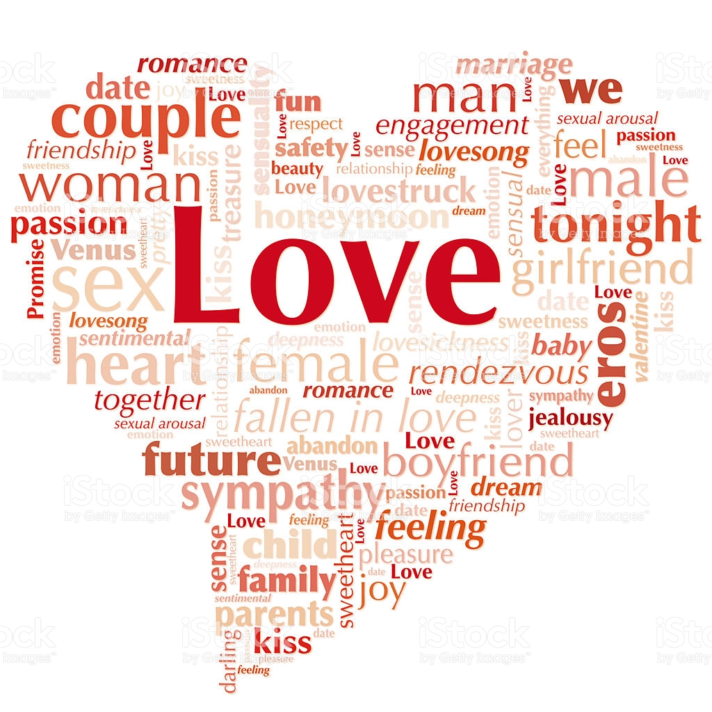 Word Cloud Love In Heart Shape Royalty Free Stock P O