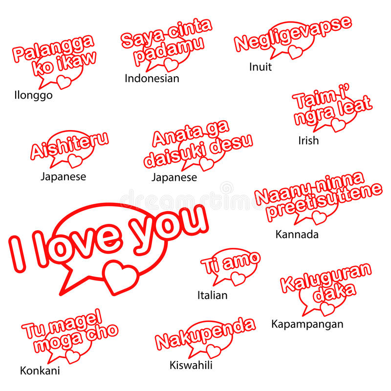 Download Word I Love You In Different Languages Stock Vector Il Ration Of English Different