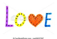 Word Love From Colorful Letters And Heart Symbol Csp