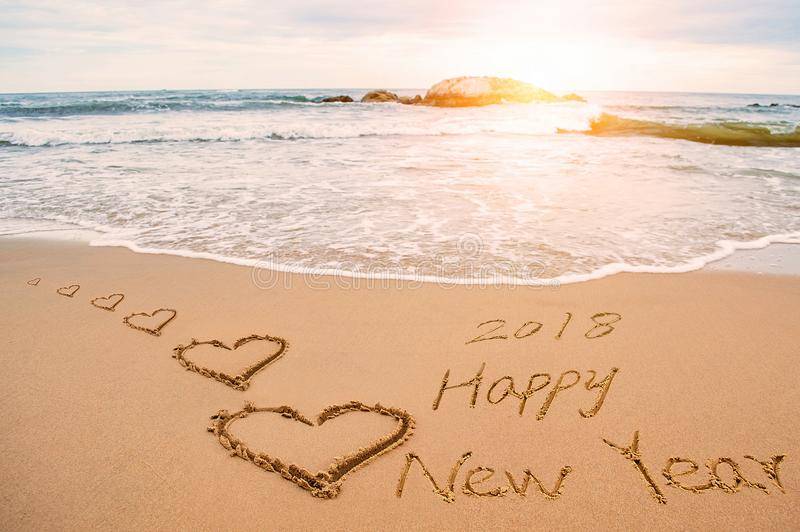 Download Write Happy New Year  Love Heart Stock Image Image Of Ocean Hearts