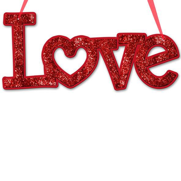 Red Glittered Love Word Sign With Heart