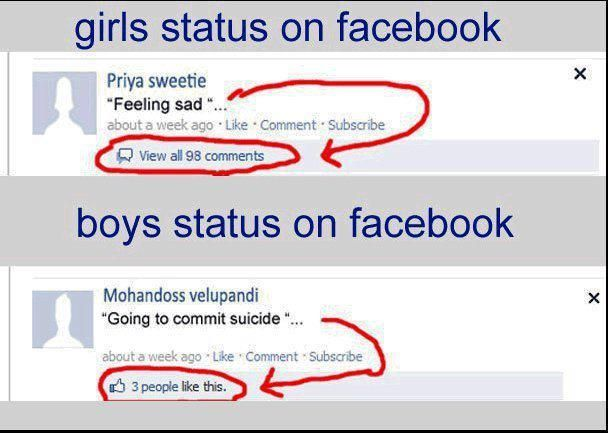 Boys Vs Girls Status Message In Facebook
