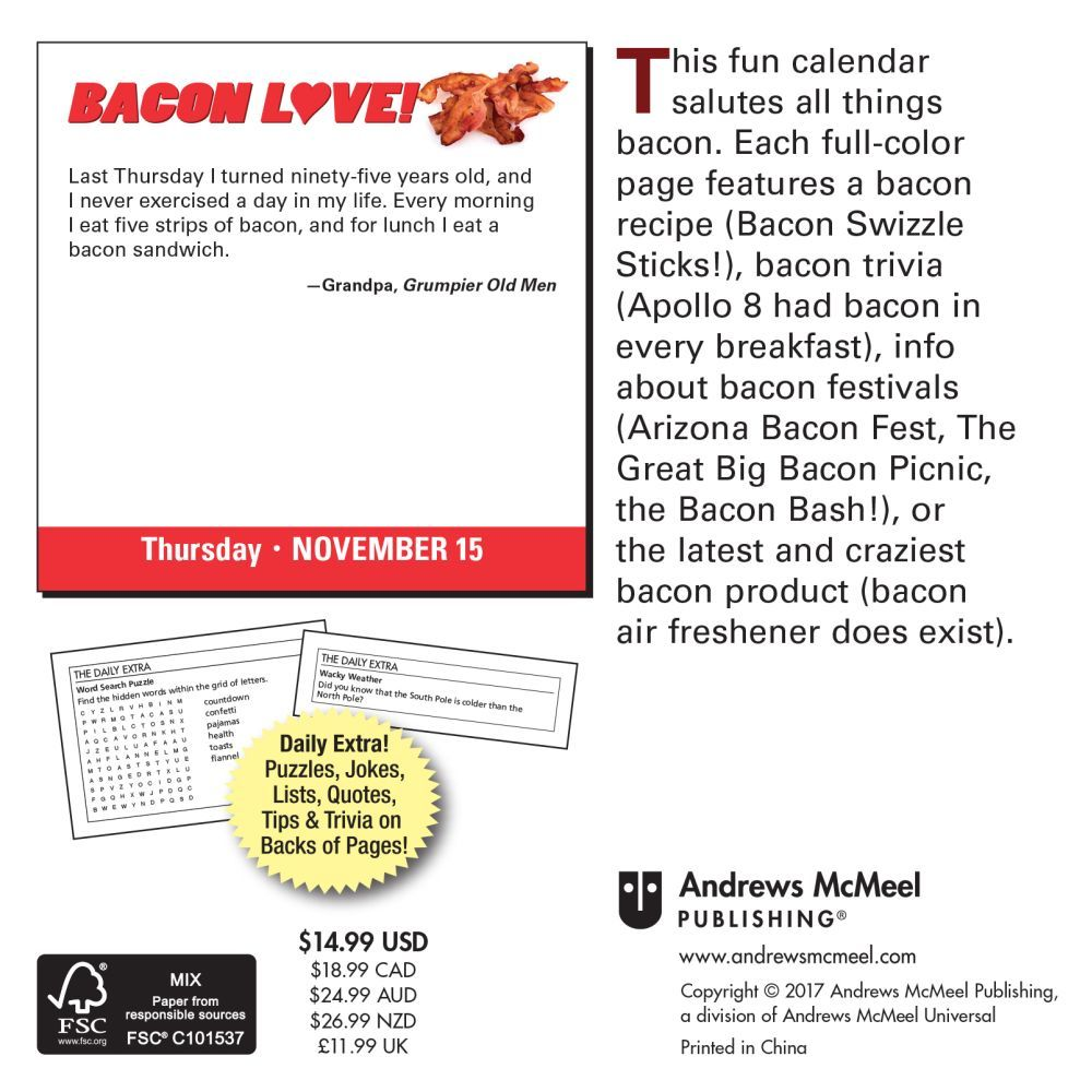 Bacon Love  Desk Calendar