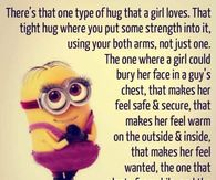 Minions Cute Love Quotes  C B Minion Love Quotes  C B One Type Of Hug That A Girl Loves