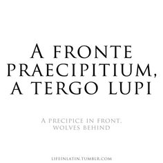 A Fronte Praecipitium A Tergo Lupi A Precipice In Front Wolves Behind