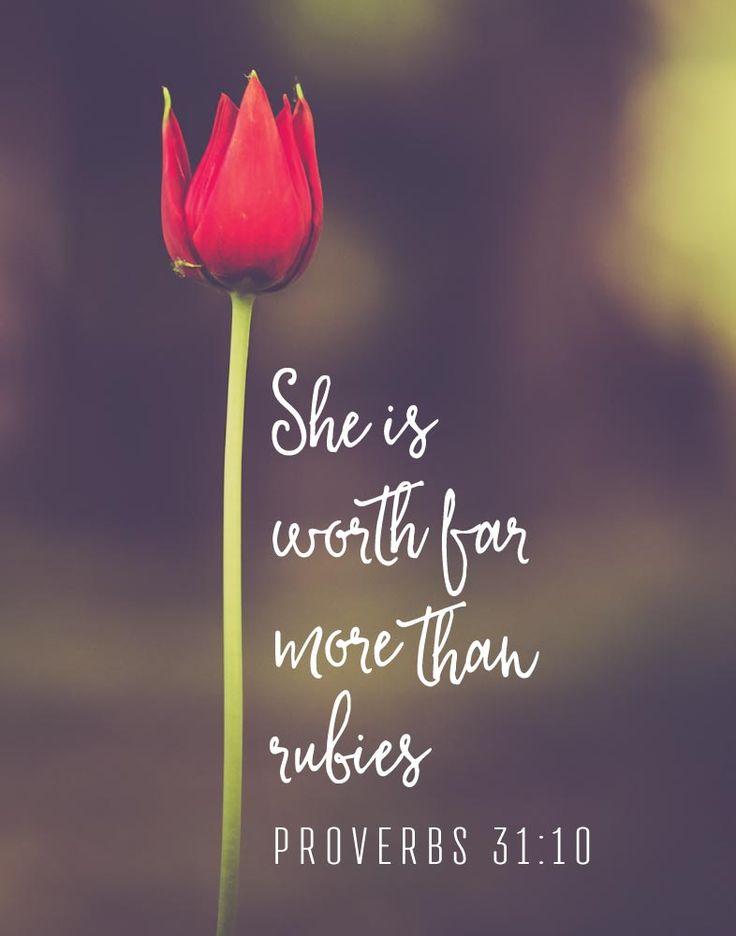 Bible Verse Print She Is Worth Far More Than Rubies Proverbs