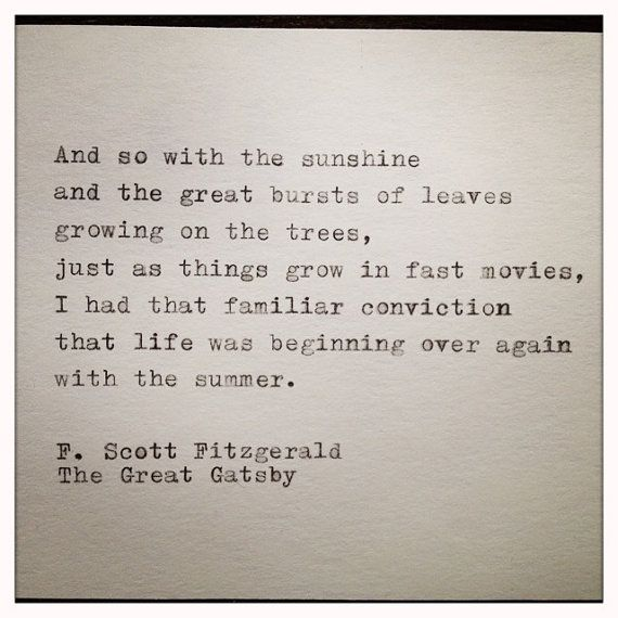 The Great Gatsby Quote Typed On Typewriter And Framed By Farmnflea