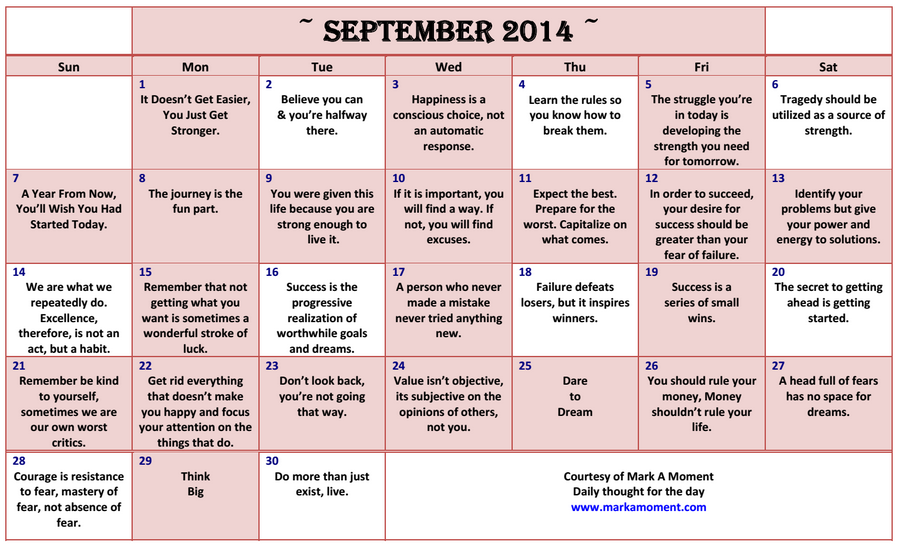 Daily Thoughts Motivational Thoughts Calendar Monthly