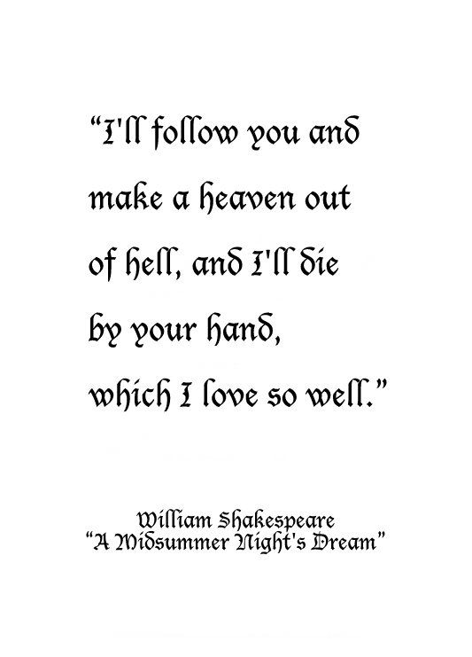 William Shakespeare From A Midsummer Nights