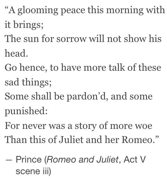 Romeo And Juliet We Settle A Dark Peace This Morning The Sun Is Too Sad
