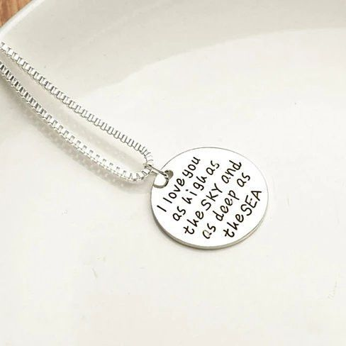 Sky High And Sea Deep Love Quote Collection Necklace