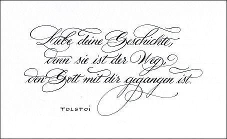 Kalligraphie Zitat Tolstoi Liebe Deine Geschichte Denn Sie Ist Der Weg