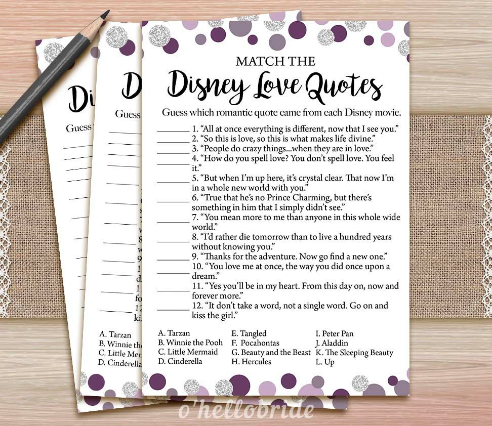 Disney Love Quotes Match Game Printable Purple Bridal Shower Love Quote Game Bridal Shower Game Bachelorette Party Games