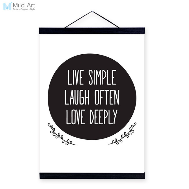 Black White Minimalist Typography Love Quotes Big Wooden Framed Canvas Painting Home Decor Wall Art Print