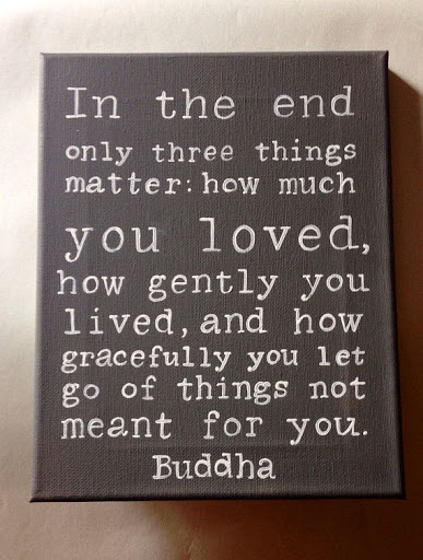 In The End Only Three Things Matter How Much You Loved How Gently You Lived And How Gracefully You Let Go Of Things Not Meant For You Buddha Quotes