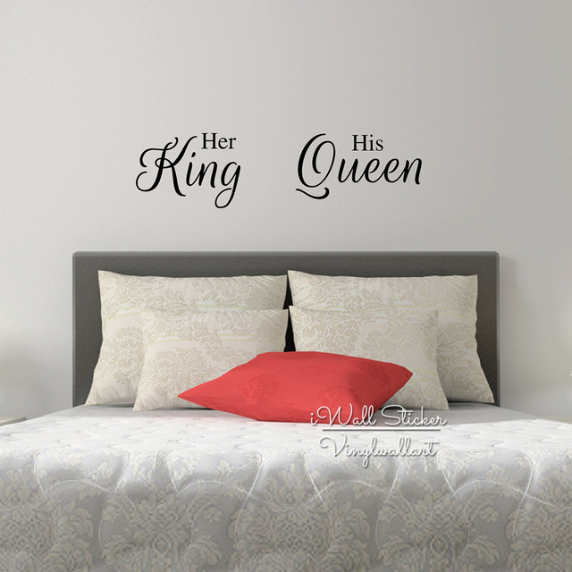 Her King His Queen Quote Wall Sticker Love Quote Wall Decal Bedroom Wall Quotes Easy Wall