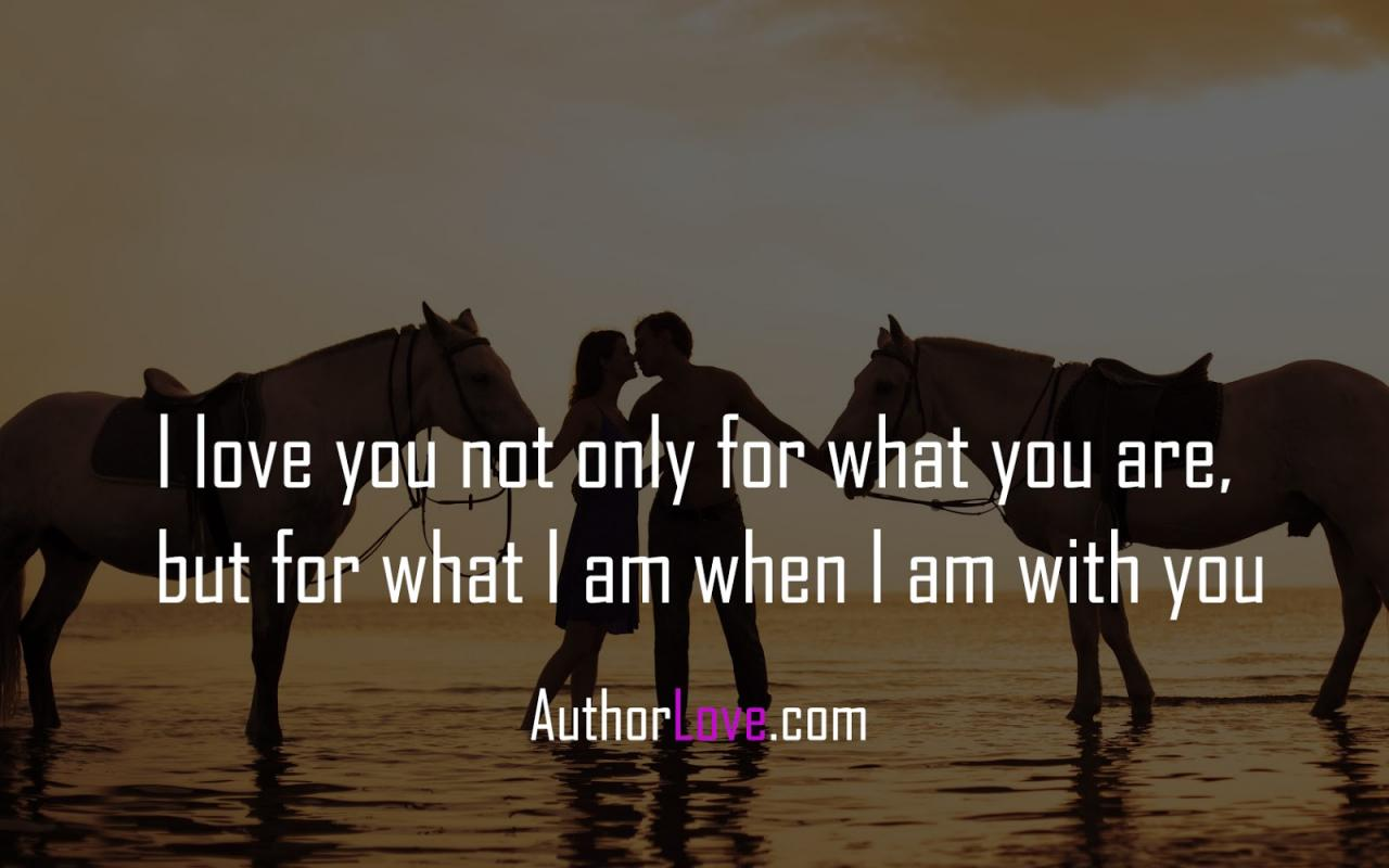 I Love You Not Only For What You Are But For What I Am When I Am With You