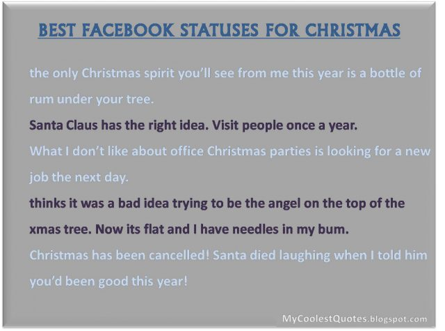 Funny Christmas Facebook Status Update Ideas They Are All Free Feel Free To Share Them With Your Friends On Your Facebook