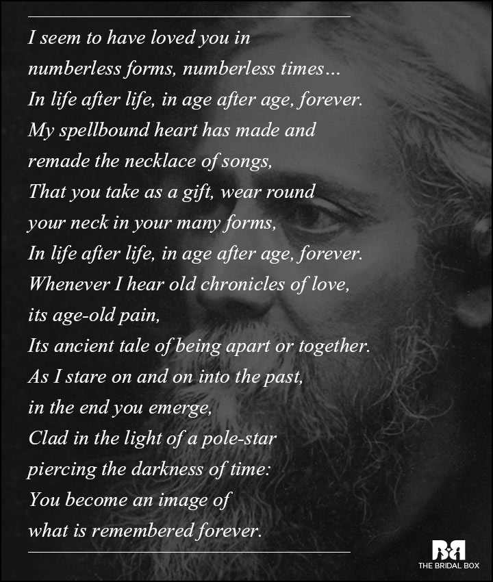 Rabindranath Tagore Love Poems Life After Life Age After Age