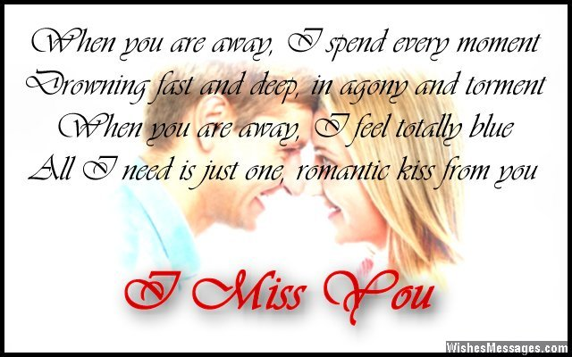 Romantic I Miss You Card Poem To Wife From Husband