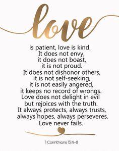 Love Is Patient Love Is Kind Art Corinthians Bible Verse Quote Art  Scripture Printable Christian Idea