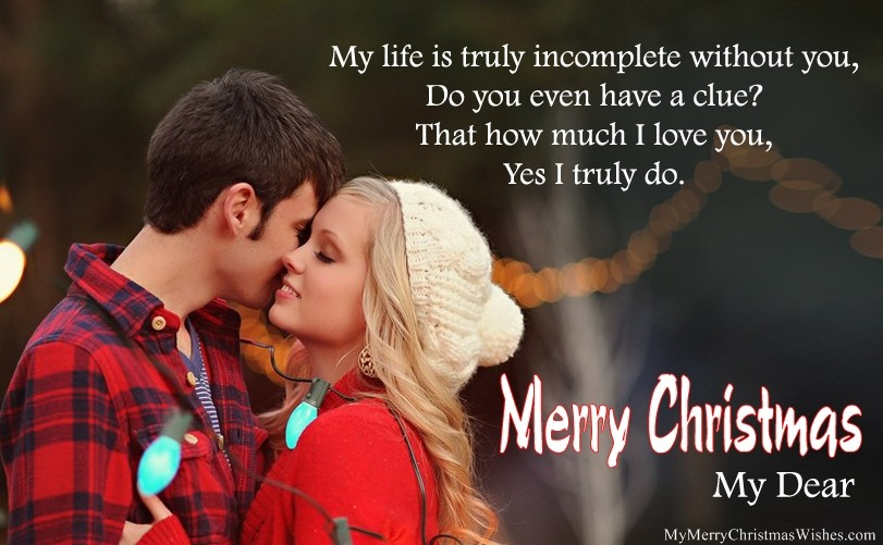 Christmas Love Message With Couple Image